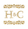 h and c vintage initials logo symbol vector image