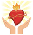 hand with sacred heart jesus christ image vector image vector image