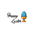 happy easter day greeting card with egg holder vector image vector image
