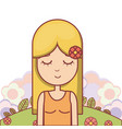 hippie cute cartoon vector image vector image