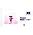 loving happy couple walking under umbrella in vector image vector image