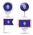Map pins with flag of Guam vector image vector image