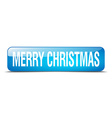 merry christmas blue square 3d realistic isolated vector image vector image