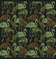 military seamless patterns with tropical flamingo vector image vector image