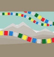 mountains with colorful tibetan prayer flags vector image vector image