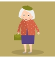 Old woman walking with bag Grandmother vector image
