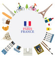 paris france landmarks and travel round frame vector image vector image