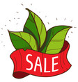 sale of goods logo green leaves vector image vector image