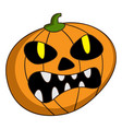 scary pumpkin icon cartoon style vector image