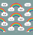 seamless pattern with cute smiling rainbow vector image