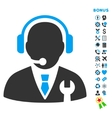 Service Manager Flat Icon with Bonus vector image