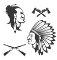 Set of american native chief heads American vector image vector image