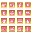 smart home icons set pink square vector image vector image