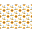 Spring bees and sunflowers seamless pattern vector image