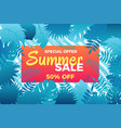 summer sale banner with leafs vector image vector image