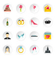 wedding icons set flat style vector image