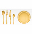 wooden cutlery and round tray for pizza vector image vector image