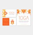 yoga health studio cards collection spa center vector image vector image