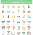 Baby color flat icon set Elegant style vector image