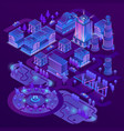 3d isometric megapolis in ultraviolet vector image