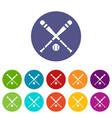 baseball bat and ball set icons vector image vector image