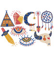 boho style symbols set indian tent buffalo skull vector image vector image