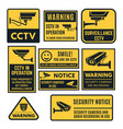 cctv warning sign set video system control vector image vector image