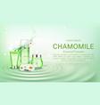 chamomile eco cosmetics bottles mock up banner vector image