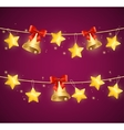 Christmas Background with Star and Bells vector image