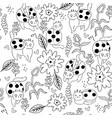 coloring page seamless pattern cat ladybugs vector image