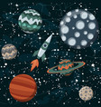 comic space with planets and spaceships rocket vector image vector image