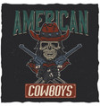 cowboy t-shirt label design vector image