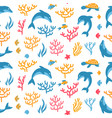 dolphins and turtles seamless pattern design for vector image