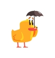 Duckling With Umbrella Cute Character Sticker vector image vector image