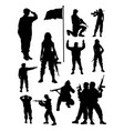 female soldier silhouette vector image vector image