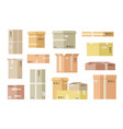 flat cardboard boxes open paper box shipping vector image