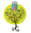 Flat Design Tree with Owl Isolated on White vector image vector image