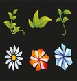 Flower and Leaf Icon Set vector image vector image