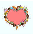 flying angels and cupids around pink heart vector image