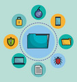 folder document with online security icons vector image