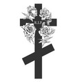 funeral ornament concept with hand drawn roses and vector image