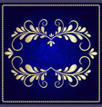 gold pattern frame on a dark blue background vector image