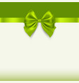greeting card with green bow holiday background vector image vector image
