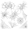 halloween spider web set black spider web vector image
