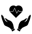 Heartbeat in hand icon vector image vector image