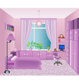 Interior childrens room in pink