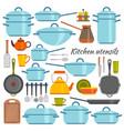 kitchen utensils flat icons set vector image vector image