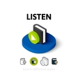 Listen icon in different style vector image