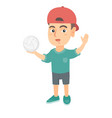 little caucasian boy holding a volleyball ball vector image vector image