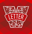 Logo letter V with a vegetative ornament on a red vector image vector image